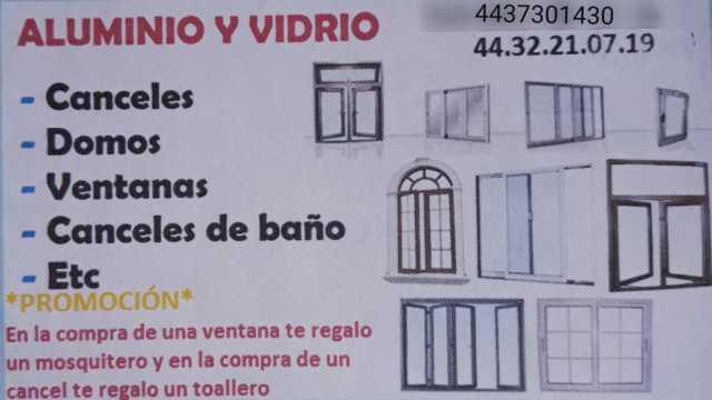 Aluminio y Vidrio - Canceles, Domos, Ventanas