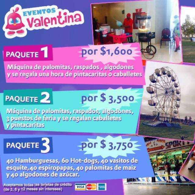 Eventos Valentina Paquetes para fiestas