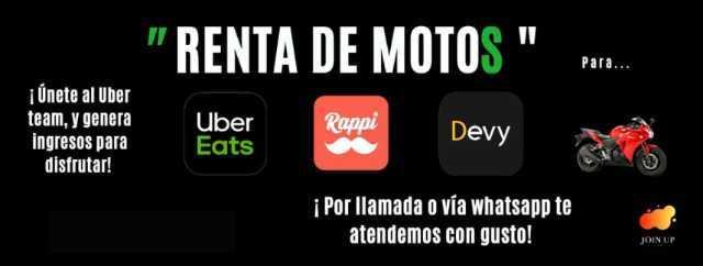 Venta o Renta de moto, para trabajar en Uber eats, Devy, Rappi, etc